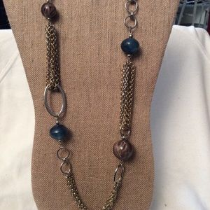Blue/Grey/Taupe Beads & Chain Necklace